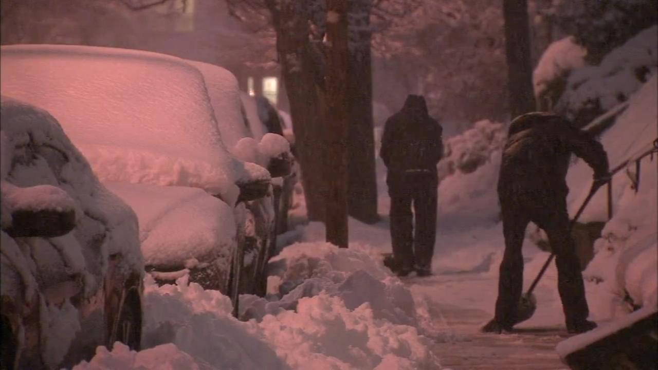 Residents deal with city streets during the noreaster