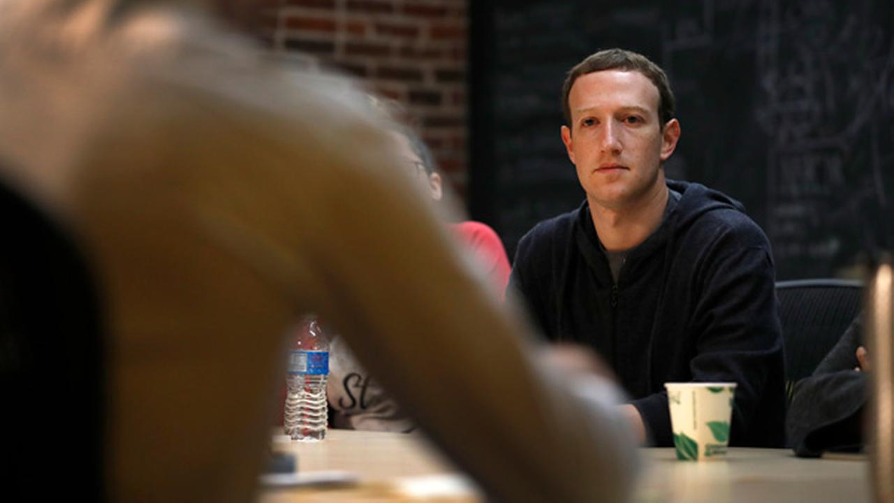 Facebook CEO Mark Zuckerberg meets with a group of entrepreneurs and innovators during a round-table discussion at Cortex Innovation Community tech hub, Nov. 2017, in St. Louis.