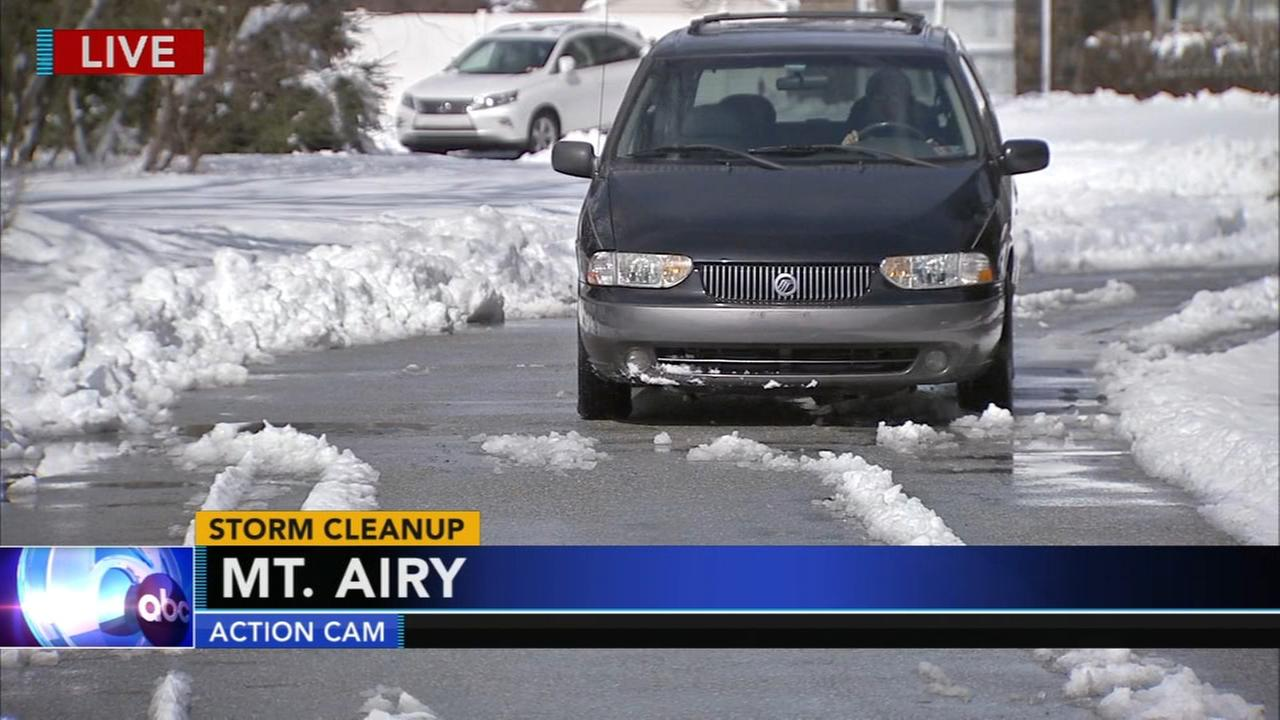Residents dig out on side streets in Mount Airy