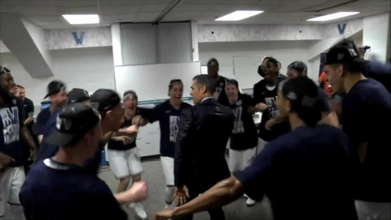 Villanova dancing to the Final Four