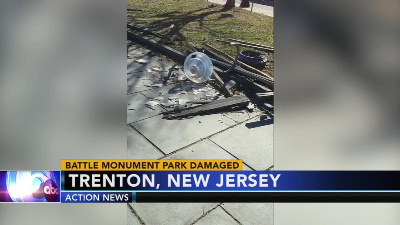 Trenton Battle Monument park damaged