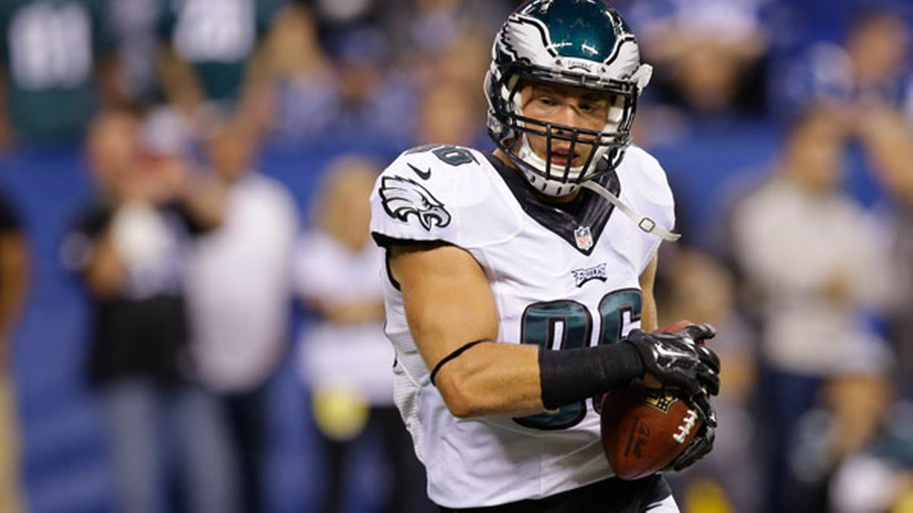 Philadelphia Eagles tight end Zach Ertz makes a catch before the start of an NFL football game between the Indianapolis Colts and the Philadelphia Eagles Monday, Sept. 15, 2014.