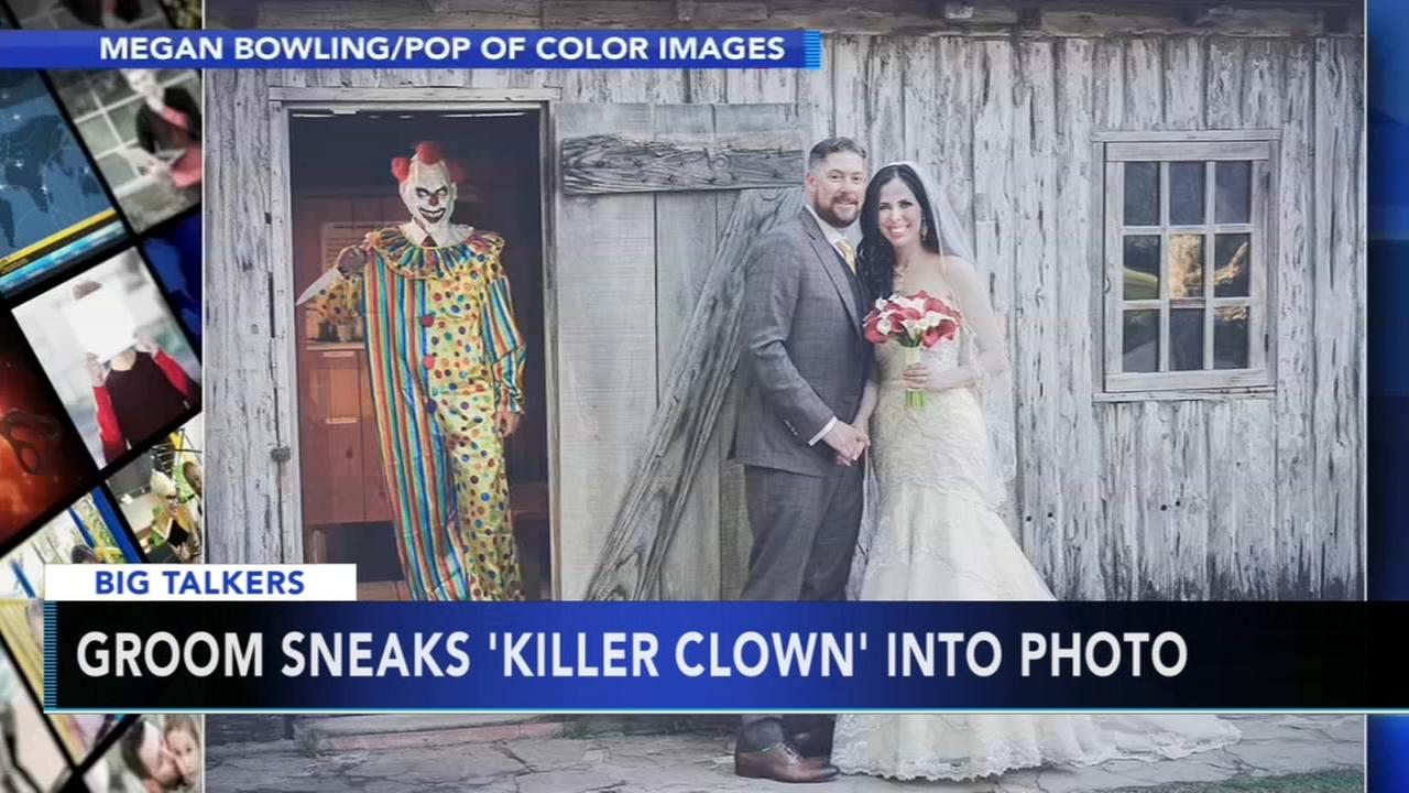 Groom sneaks creepy clown into wedding photos