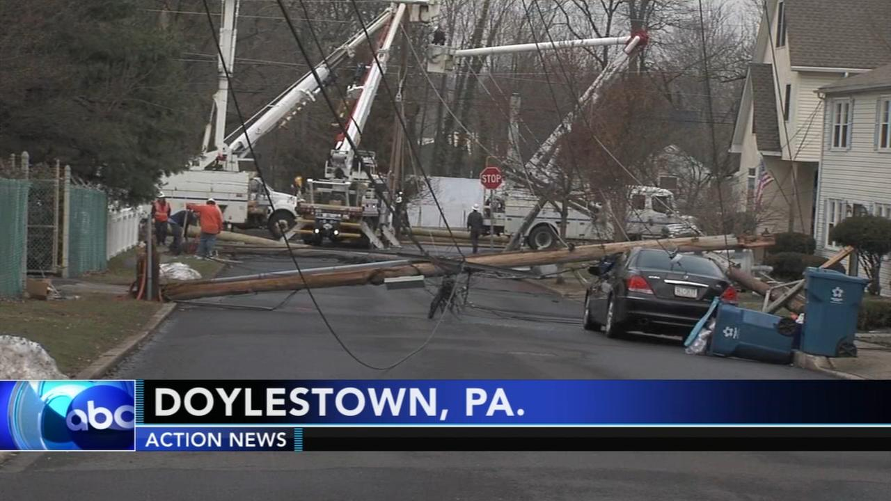 Downed utility poles cause power problems in Doylestown