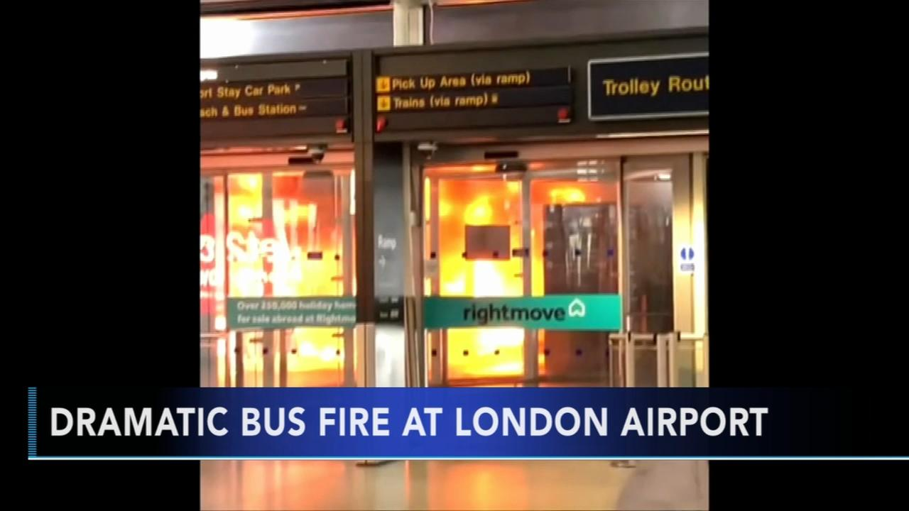 Shuttle bus catches fire at London airport