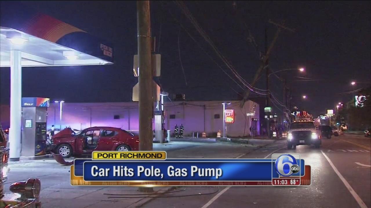 VIDEO: Car hits pole, gas pump