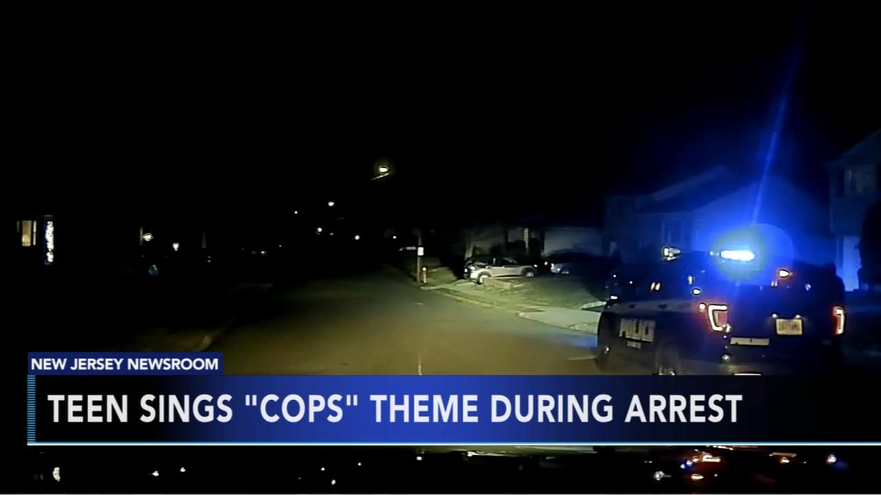 Teen sings Cops theme during arrest
