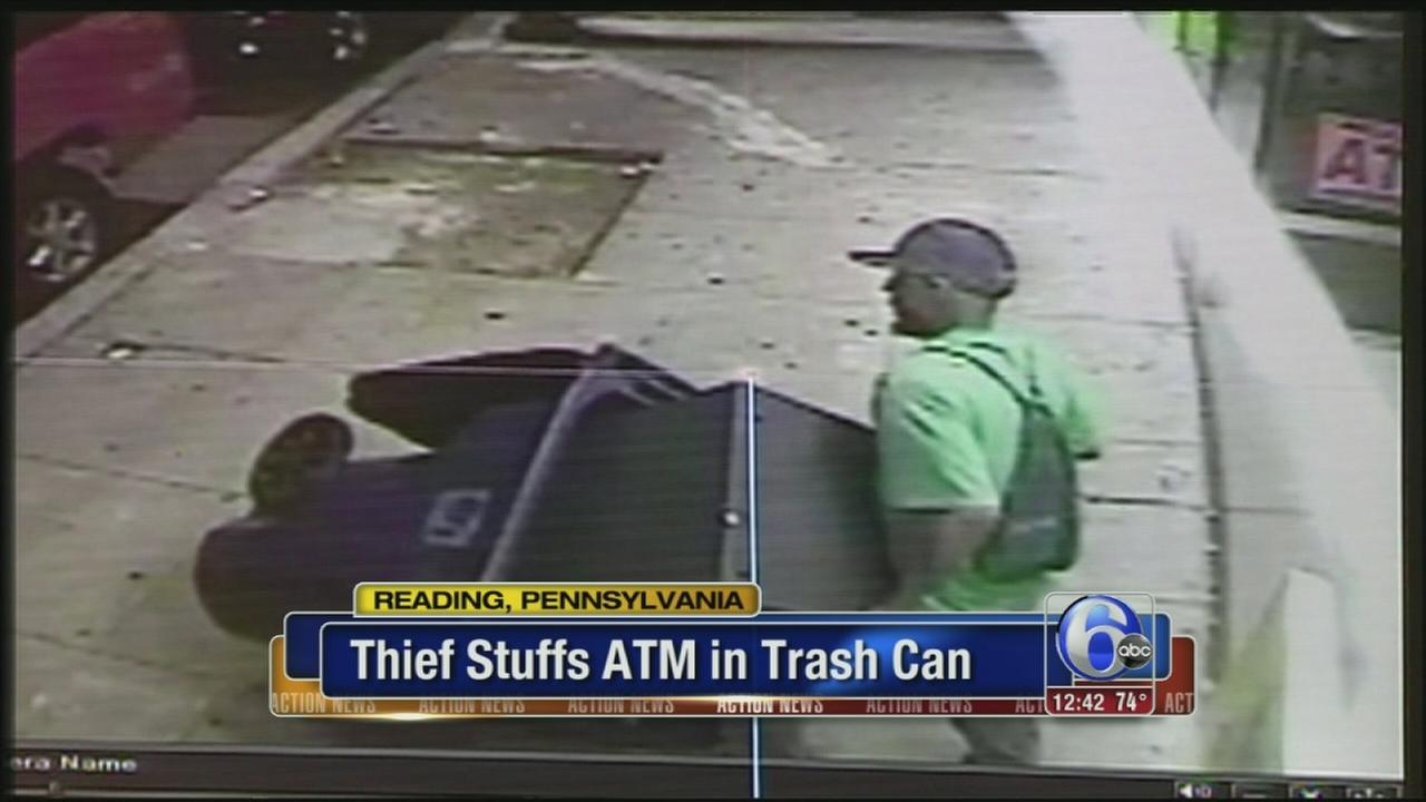 VIDEO: Thief steals ATM, carts it off in trash can