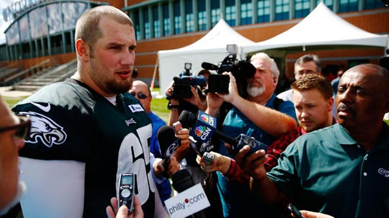Eagles offensive tackle Lane Johnson speaks with members of the media after NFL football practice at the teams training facility, Tuesday, Sept. 30, 2014, in Philadelphia.