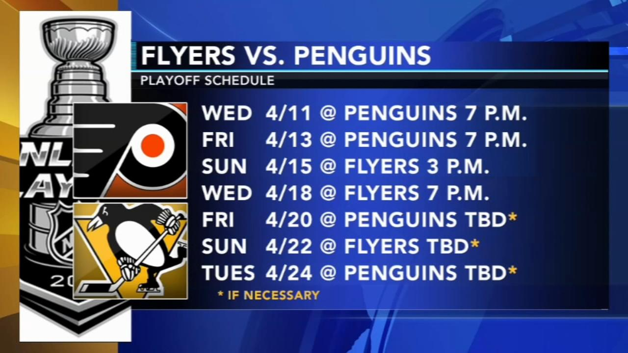 Flyers playoff schedule begins Wednesday