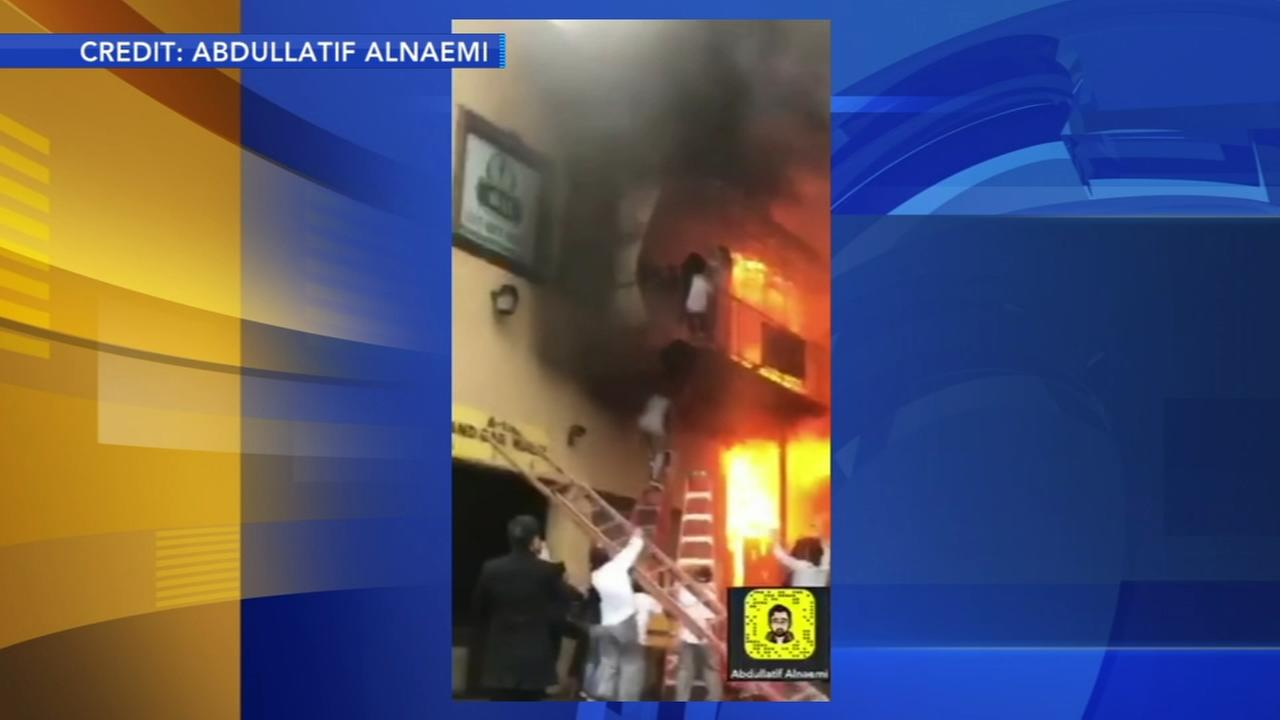 Girls jump from balcony to escape dance studio fire