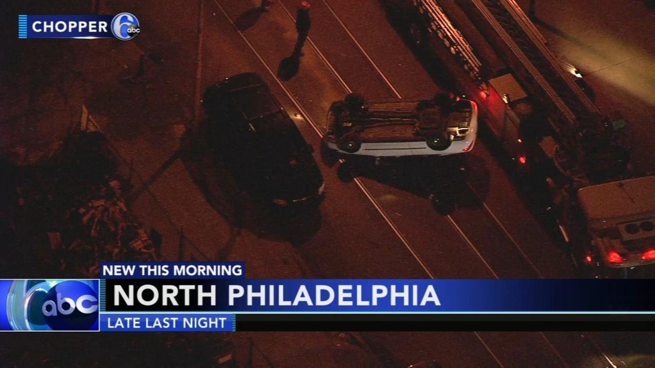 Car flips over in North Philadelphia