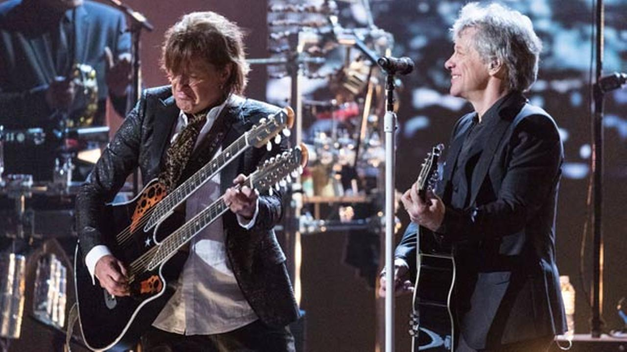 Richie Sambora, left, and Jon Bon Jovi are seen at the 2018 Rock and Roll Hall of Fame Induction Ceremony at Cleveland Public Auditorium on April 14, 2018, in Cleveland, Ohio.