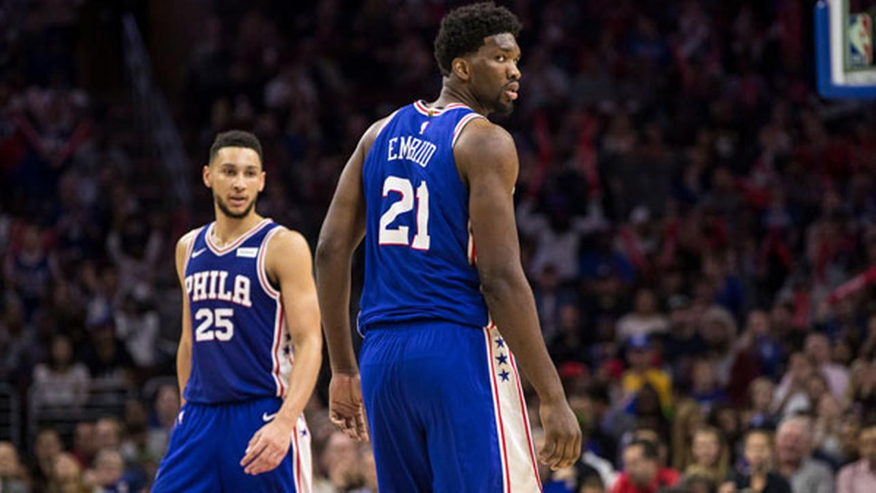 Philadelphia 76ers Joel Embiid, of Cameroon, right, looks back with Ben Simmons, of Australia, left, in a game against the Indiana Pacers, Friday, Nov. 3, 2017.