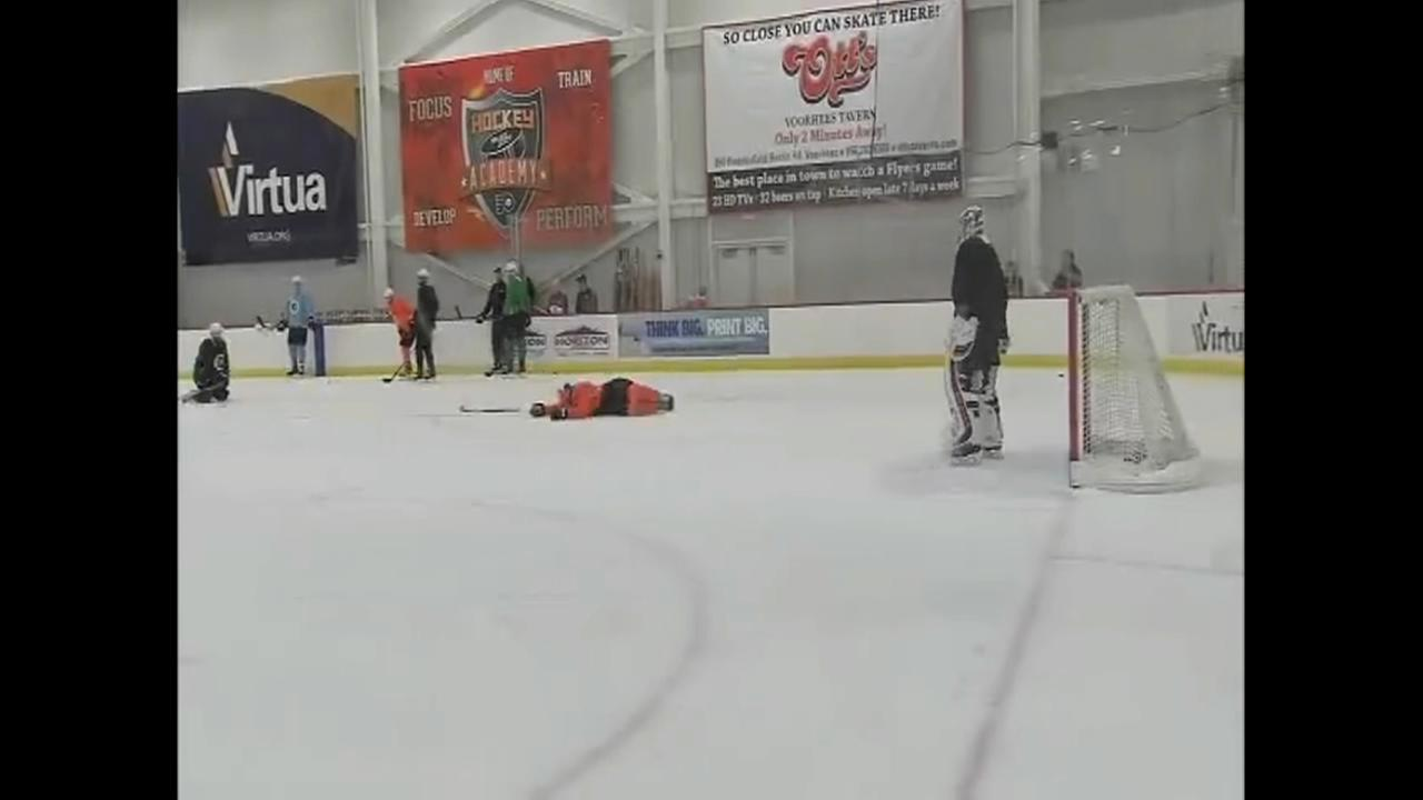 Flyers Sean Couturier goes down at practice