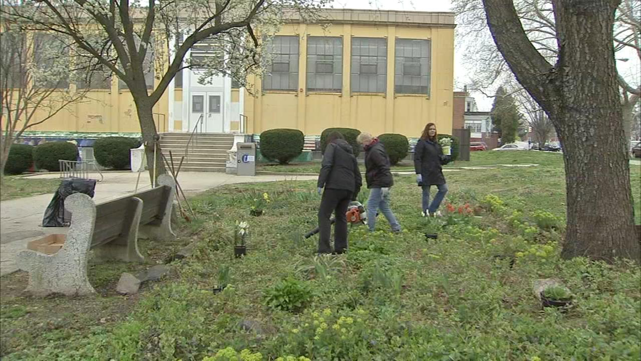 Employees from PECO spent the day sprucing up a library in W. Philly