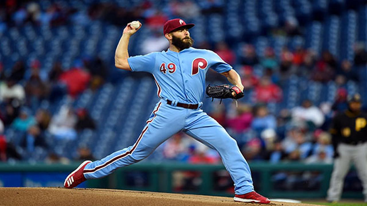 Philadelphia Phillies starting pitcher Jake Arrieta throws during the first inning of a baseball game against the Pittsburgh Pirates, Thursday, April 19, 2018, in Philadelphia.