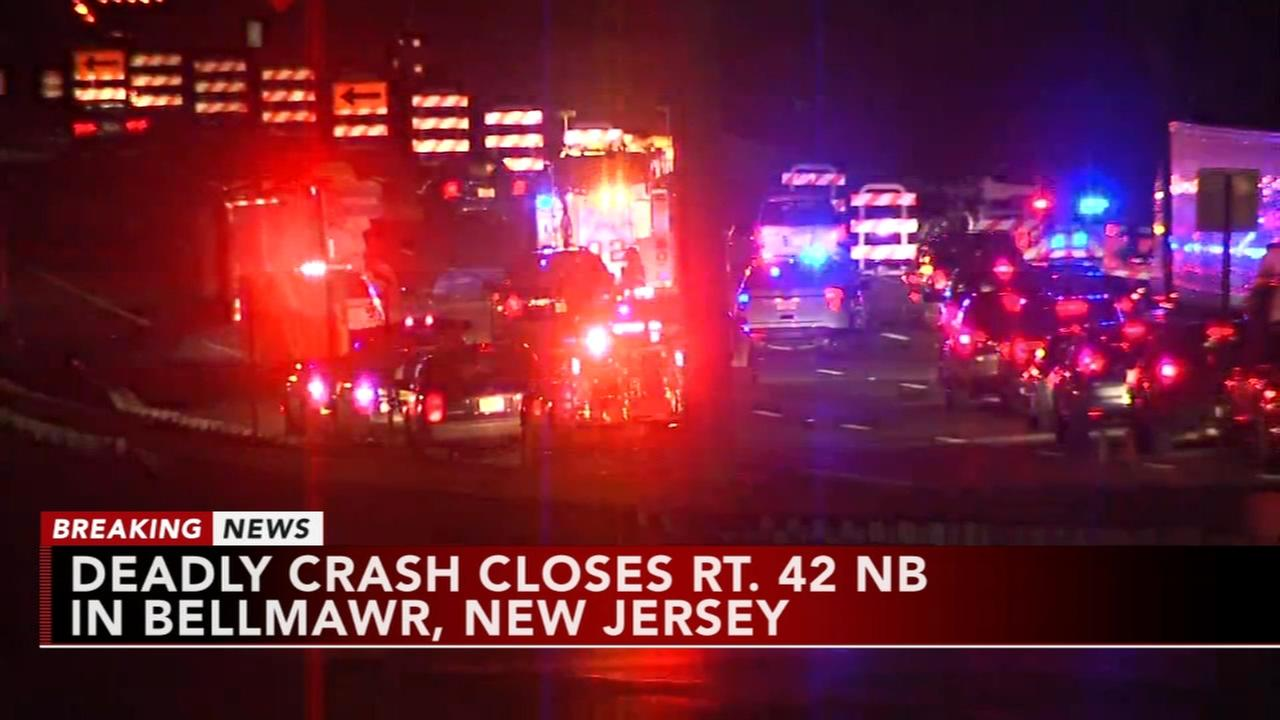 Fatal crash closes Route 42 northbound in Bellmawr, New Jersey