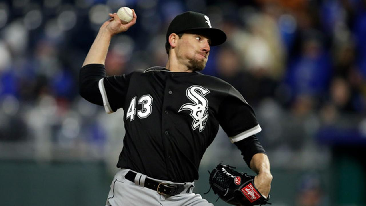 Chicago White Sox relief pitcher Danny Farquhar during a baseball game against the Kansas City Royals at Kauffman Stadium in Kansas City, Mo., Saturday, March 31, 2018.