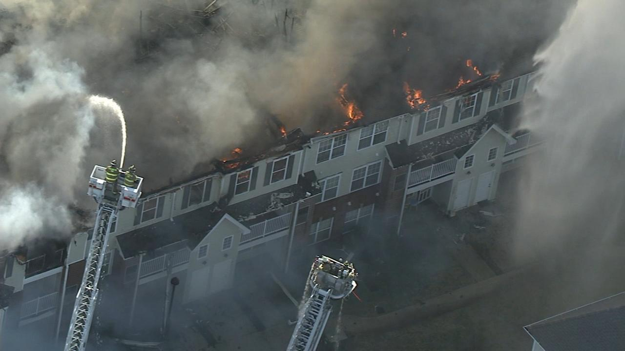 Chopper 6 over apartment building fire in Willingboro, N.J.