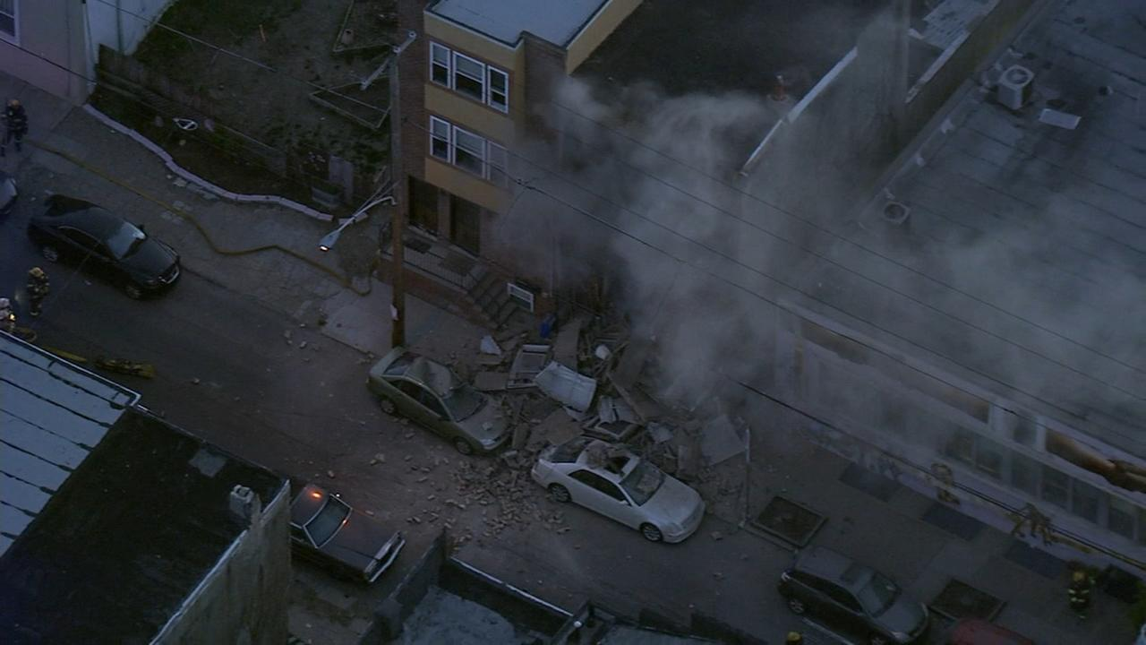 Chopper 6 over the scene of a building collapse in Point Breeze.