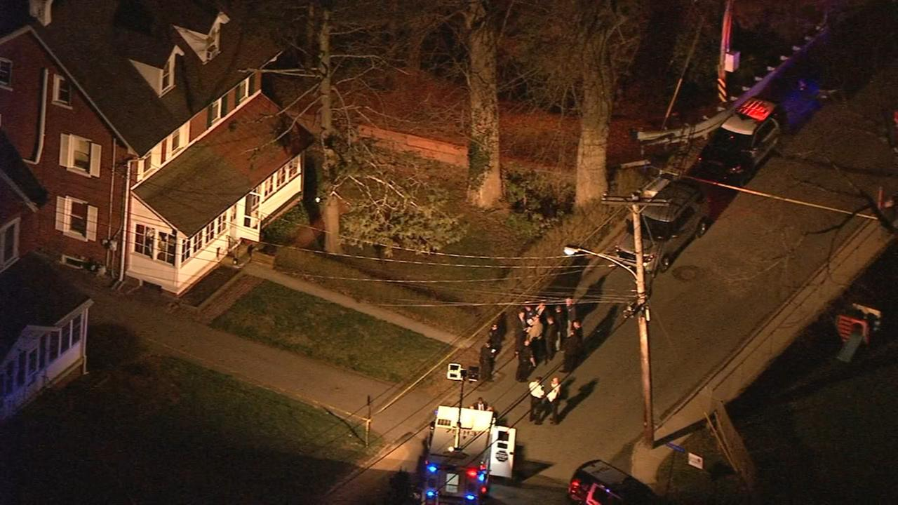 Chopper 6 over the scene of where two bodies were found in Bryn Mawr.