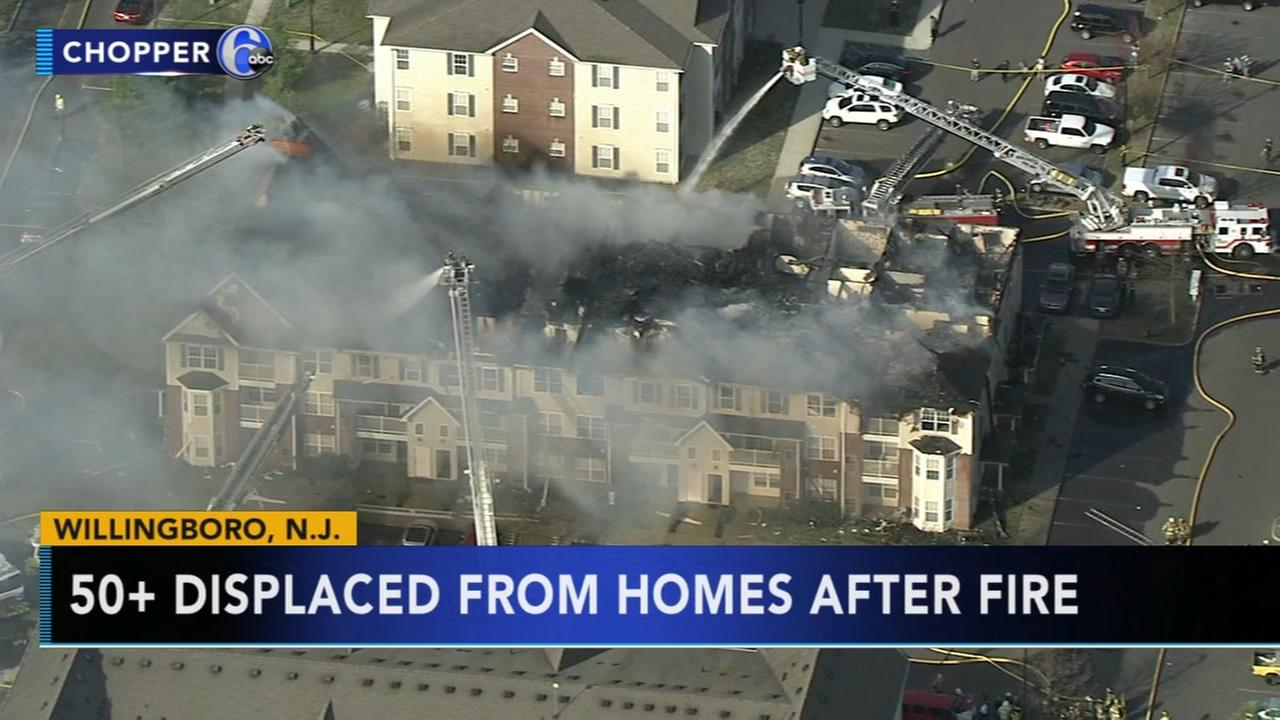 50 displaced following apartment fire in Willingboro