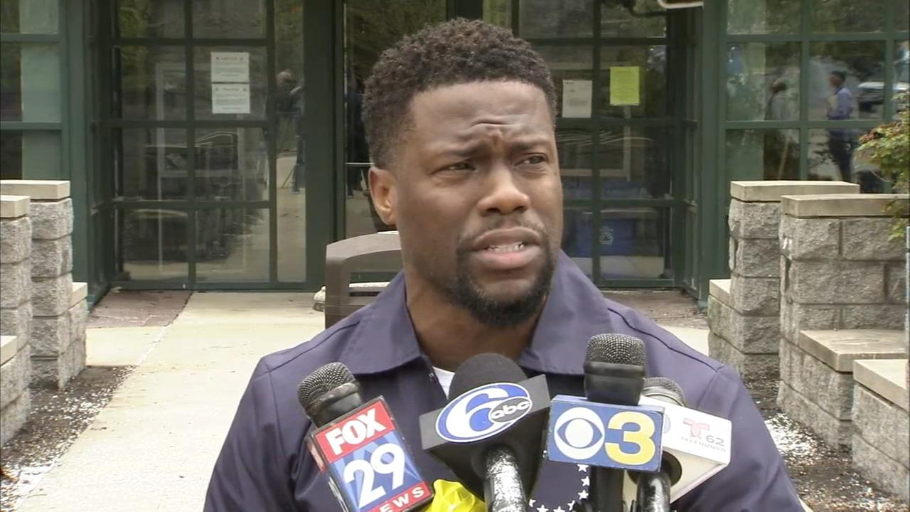 Kevin Hart speaks to media after visiting Meek Mill in prison