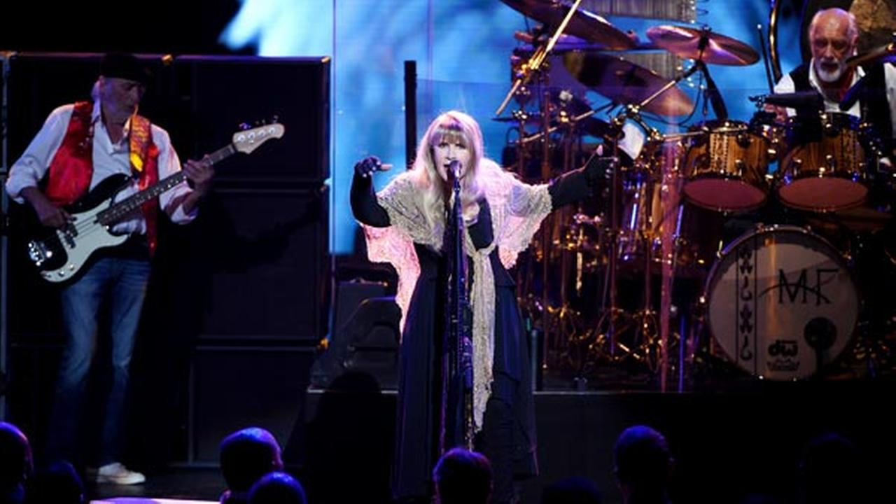 Singer Stevie Nicks, center, John McVie and Mick Fleetwood, right, of Fleetwood Mac perform onstage at the 2018 MusiCares Person of the Year tribute honoring Fleetwood Mac.