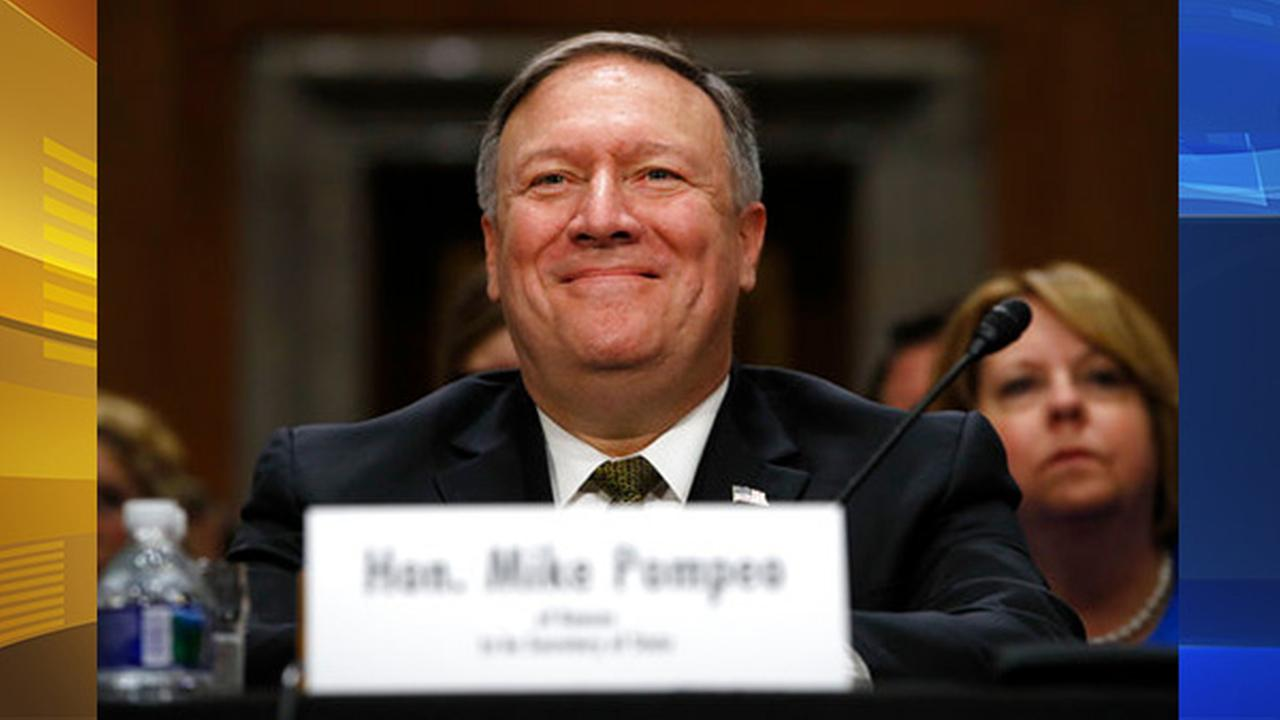 Secretary of State-designate Mike Pompeo smiles after his introduction before the Senate Foreign Relations Cmte. during a confirmation Thursday, April 12, 2018, on Capitol Hill.