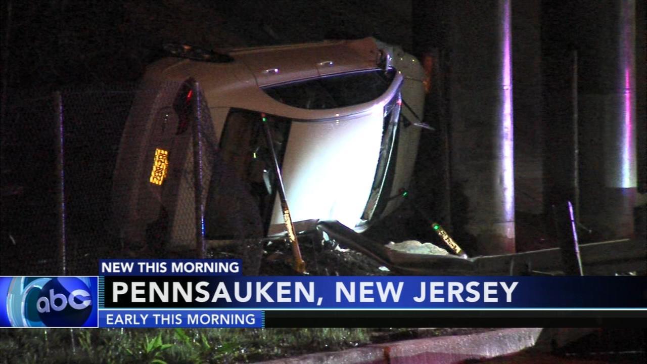 Driver rescued from flipped car in Pennsauken