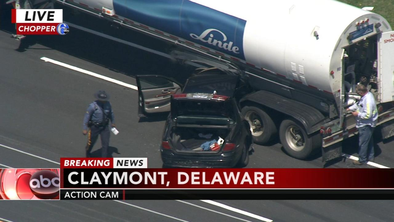 Vehicle and tanker truck crash in Claymont; Naamans Rd. closed