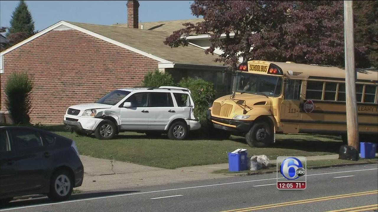 VIDEO: School bus crashes across from NE Philly school