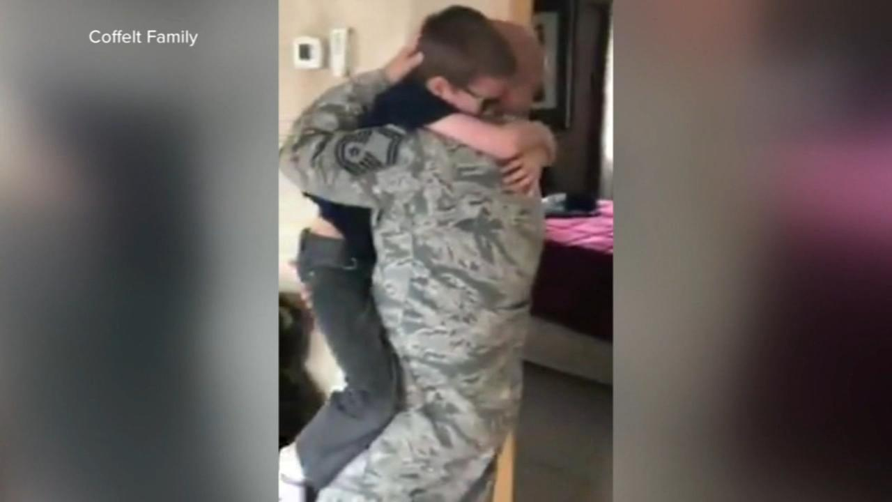Returning soldier surprises son