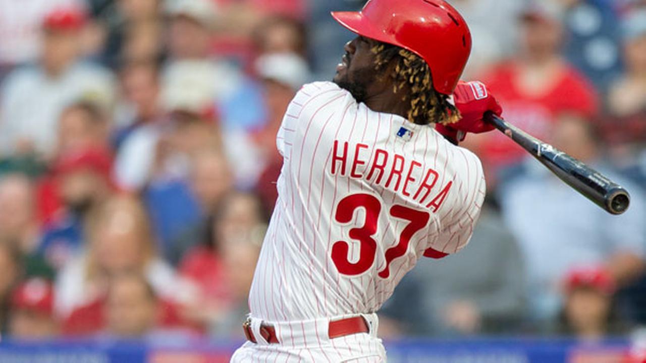 Philadelphia Phillies Odubel Herrera (37) follows through on a three run home run.