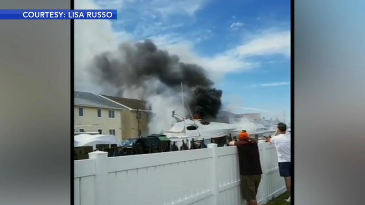 Boat catches fire in Wildwood