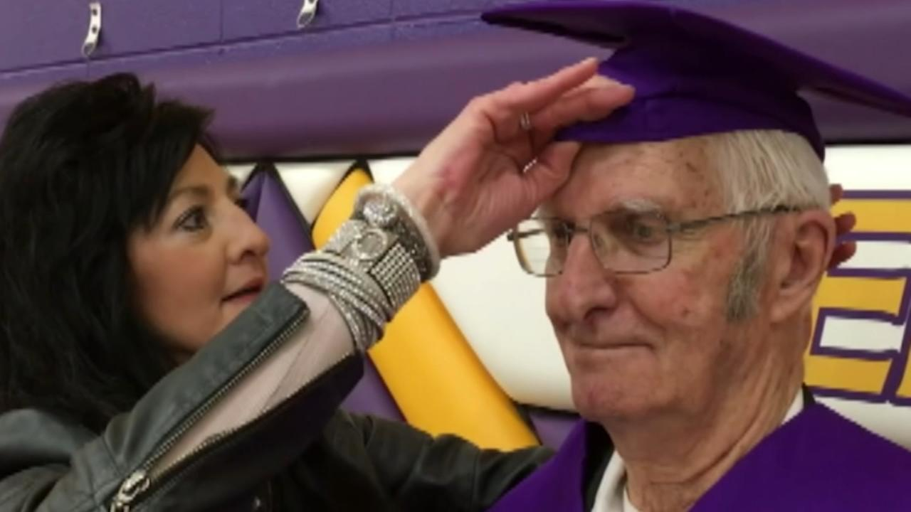 Man, 83, finally graduates from high school