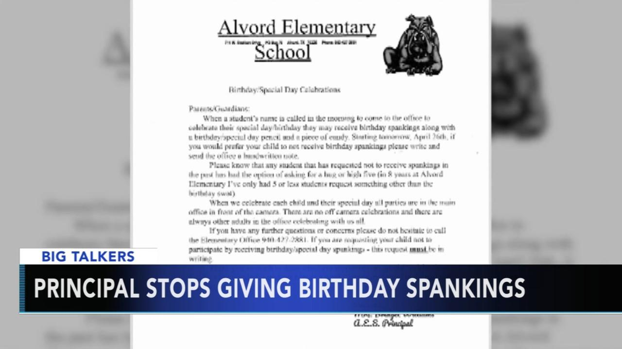 Texas school principal stops giving birthday spankings