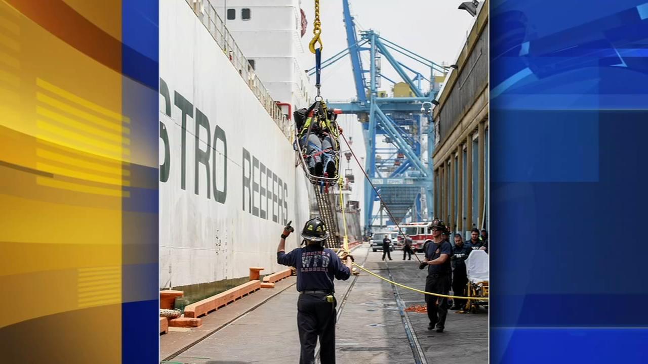 Crews rescue injured port worker in Wilmington