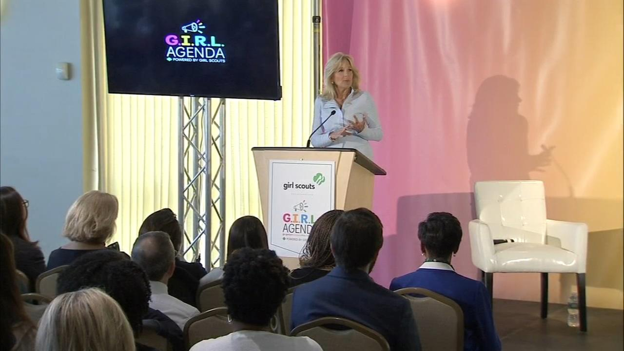 Doctor Jill Biden addressed local girl scouts Monday in Center City