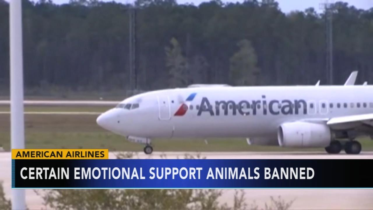 Certain emotional support animals banned
