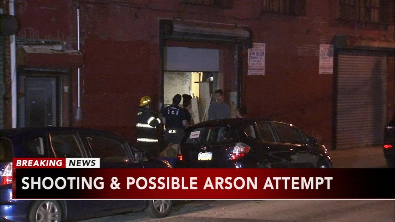 Shooting, possible arson attempt in North Philadelphia