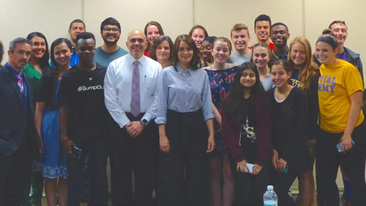 Tina Fey makes surprise return to Upper Darby High School