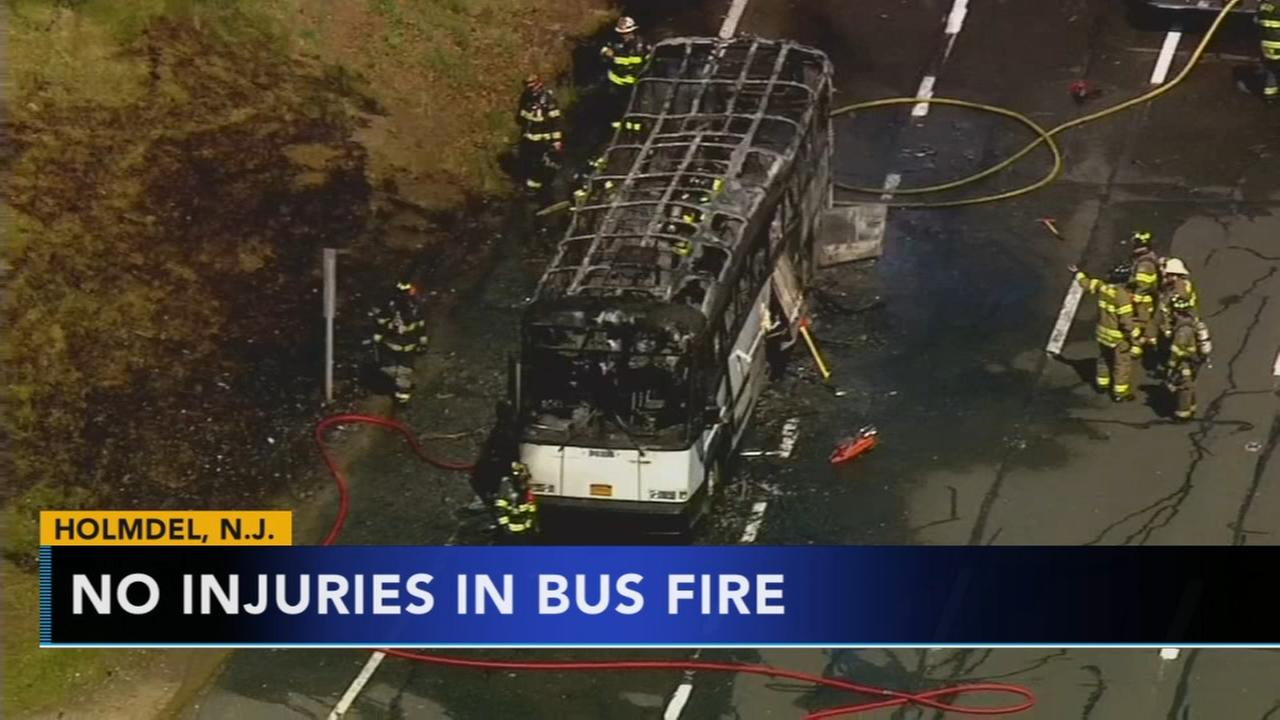 Bus catches fire in north Jersey
