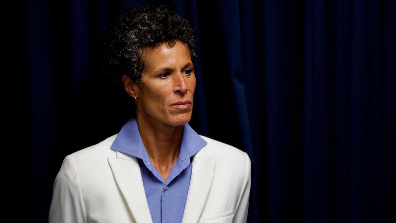 Bill Cosby accuser Andrea Constand listens during a news conference after Cosby was found guilty in his sexual assault trial, Thursday, April 26, 2018, in Norristown, Pa.
