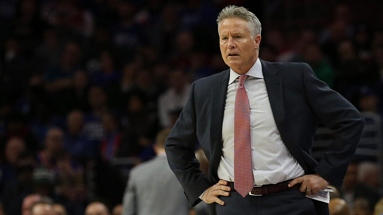 76ers head coach Brett Brown looks on during the first quarter of a game against the Toronto Raptors in Philadelphia, Monday, Jan. 15, 2018. The 76ers defeated the Raptors 117-111.