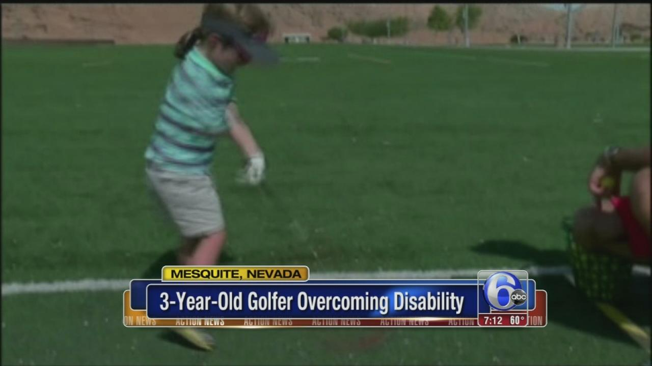 VIDEO: 3-year-old golfer overcomes disability