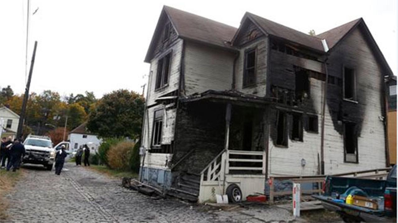 A fire in McKeesport, Pa. killed six members of a family, four of them children, and left another in the hospital in critical condition on Saturday, Oct. 18, 2014.