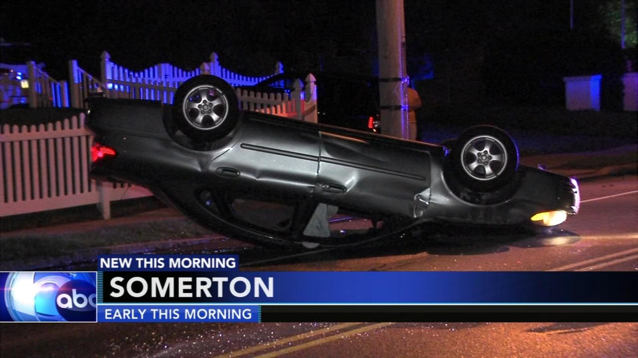 Driver rescued from overturned car in Somerton
