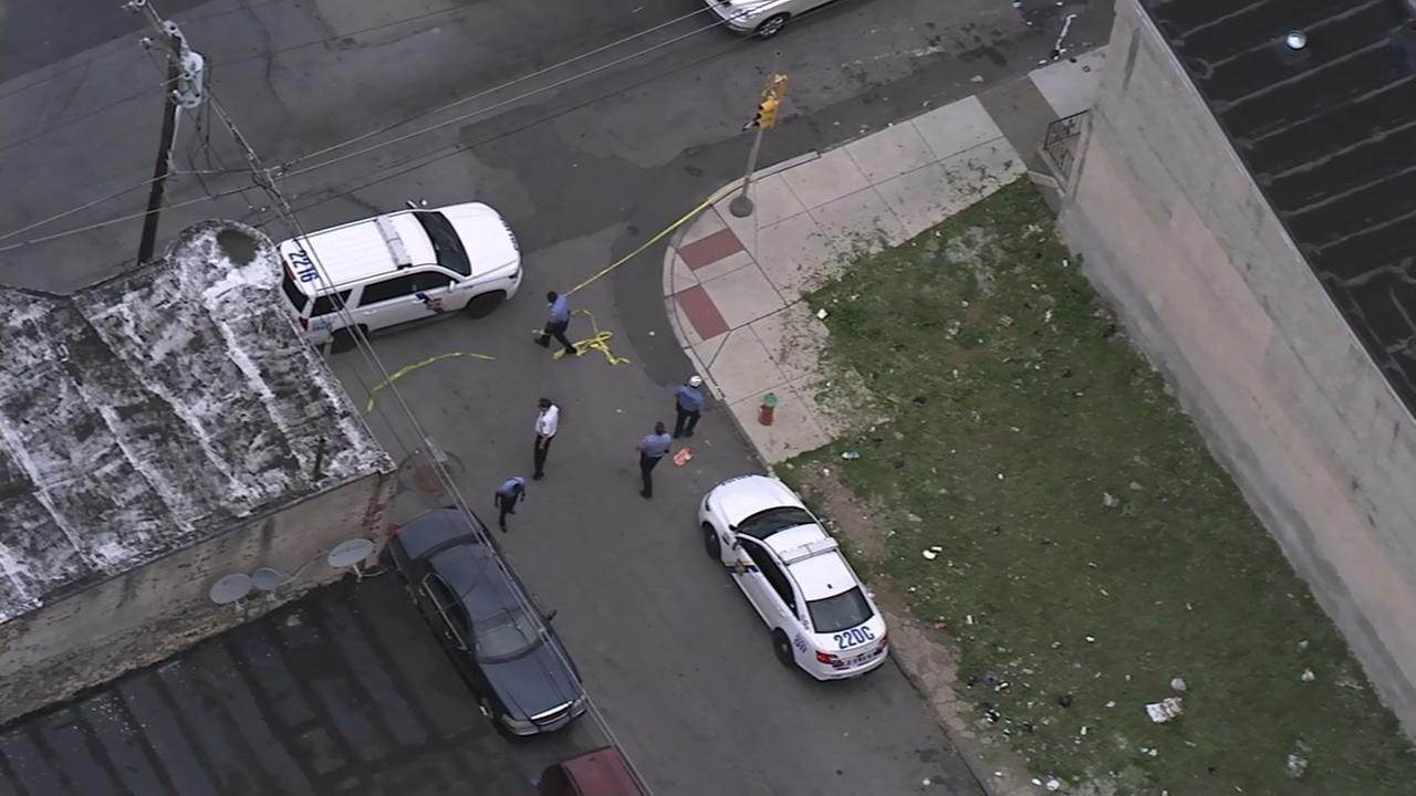 Chopper 6 over the scene of a double shooting in North Philadelphia.
